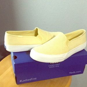 COPY - Double decker suede yellow slip on Keds